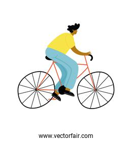 young afro man in bicycle avatar character