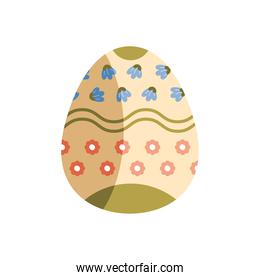 egg painted with red and blue flowers easter season
