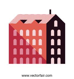 five story building red color minimal city icon
