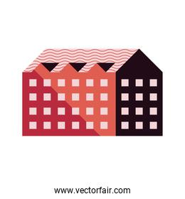 four story building red color minimal city