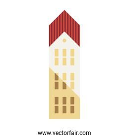 three story building red and white colors minimal city icon