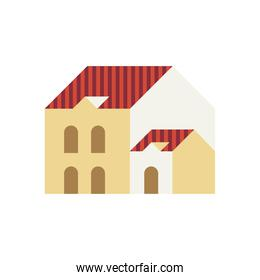 two story building red and white colors minimal city icon