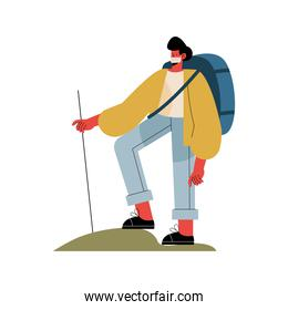 traveler man wearing mask new normality character
