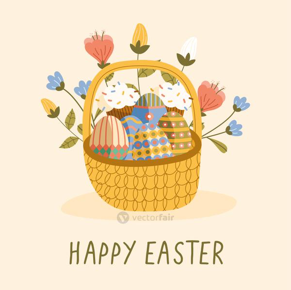 happy easter lettering card with eggs painted and flowers in basket