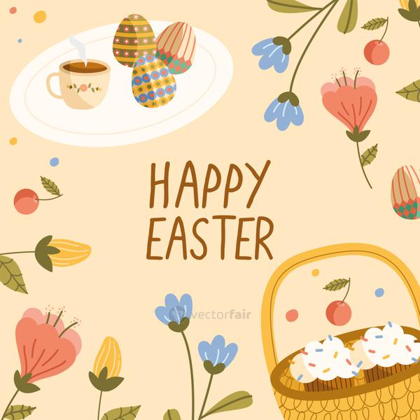 happy easter lettering card with cupcakes in basket and eggs painted
