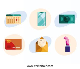 bundle of six tax day   icons in white background