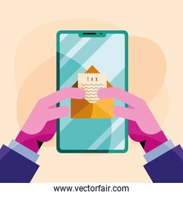hands using smartphone with tax document in envelope