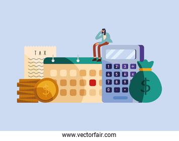 person seated in calculator with tax set icons