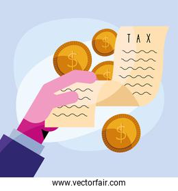 hand lifting tax receipt with coins dollars