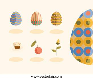 bundle of eggs painted and flowers happy easter icons