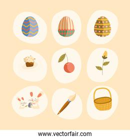 bundle of nine happy easter celebration icons