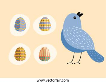 bundle of eggs painted and bird happy easter celebration
