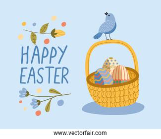 happy easter lettering card with eggs painted and bird in basket