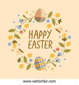happy easter lettering card with eggs painted in wreath flowers