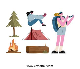 travelers couple wearing mask and camping set icons