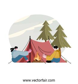 travelers couple wearing mask in the camping tent
