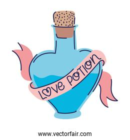 pink bottle with heart shape and love potion lettering