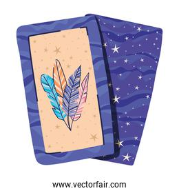 esoteric cards with feathers in the middle of it