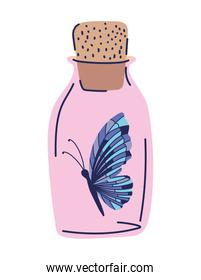 pink bottle with one butterfly in it