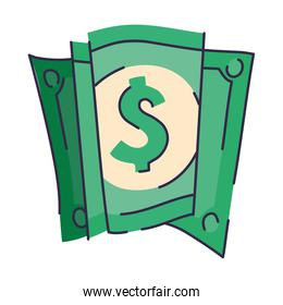 dollar over a white background