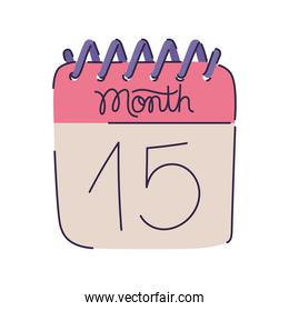 pink calendar isolated