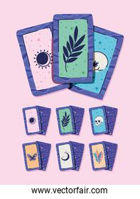 set of esoteric cards on a pink background