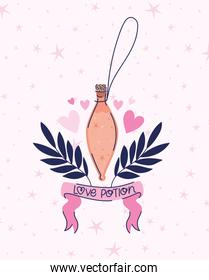 potion with love potion lettering on a ribbon