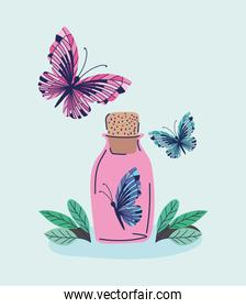 pink bottle with one butterfly in it and two more butterflys