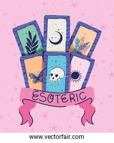 set of esoteric cards and esoteric lettering in a ribbon on a pink background