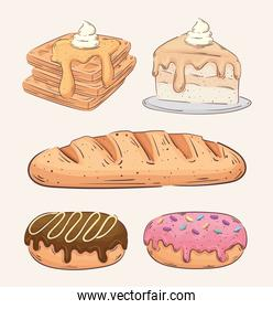 bundle of five bakery shop set icons
