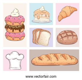 bundle of seven bakery shop set icons
