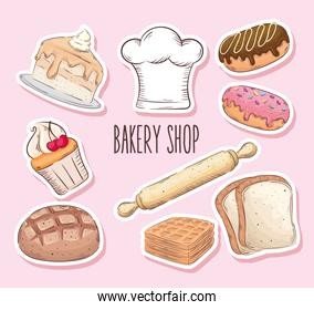 bakery shop lettering with nine set icons