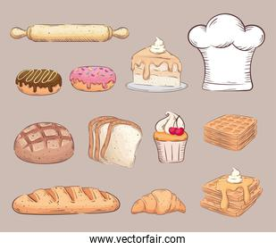 bundle of twelve bakery shop set icons