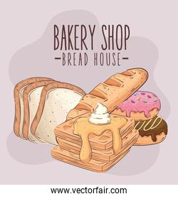 bakery shop lettering with pastry products