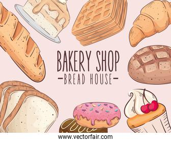 bakery shop lettering with pastry products around
