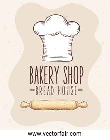 bakery shop lettering with chef hat and wooden roll