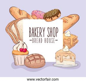 bakery shop lettering banner with pastry products