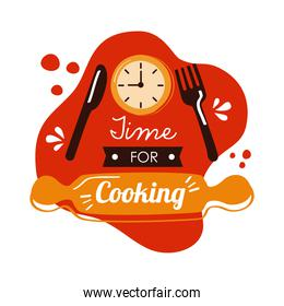 time for cooking lettering with fork and knife