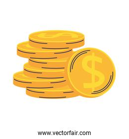 pile coins money isolated design