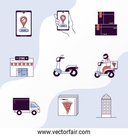 delivery nine icons