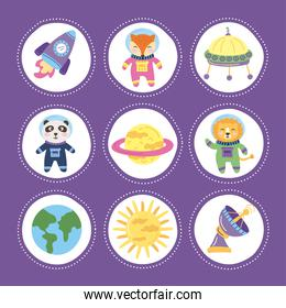 space animals icons