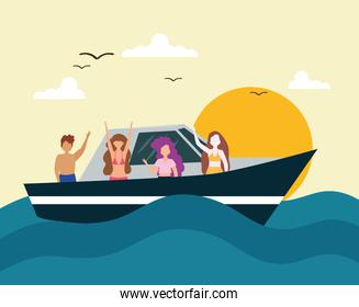 people traveling yacht