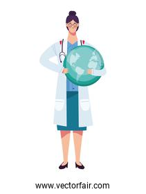 female doctor with stethoscope lifting earth planet