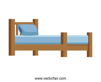 wooden bed forniture isolated icon
