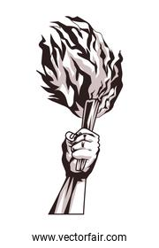 hand with torch
