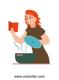 woman cooking character