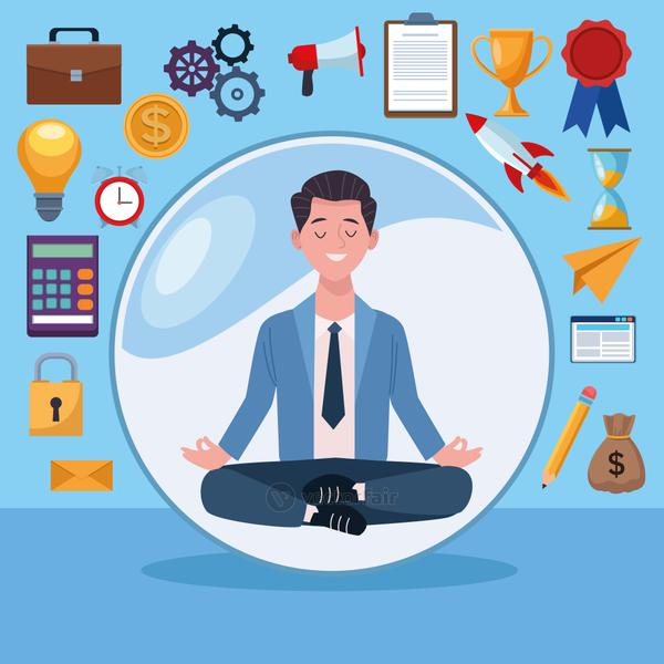 businessman practicing lotus position with business set icons