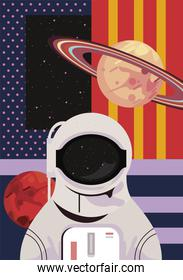 astronaut and saturn