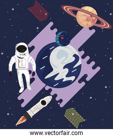 astronaut and rocket