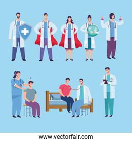 doctors staff group and patients